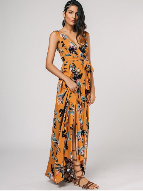 outfits Self Tie High Slit Floral Maxi Surplice Dress - YELLOW M Mobile