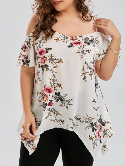 Plus Size Dew Shoulder Tiny Floral Blouse - White Xl