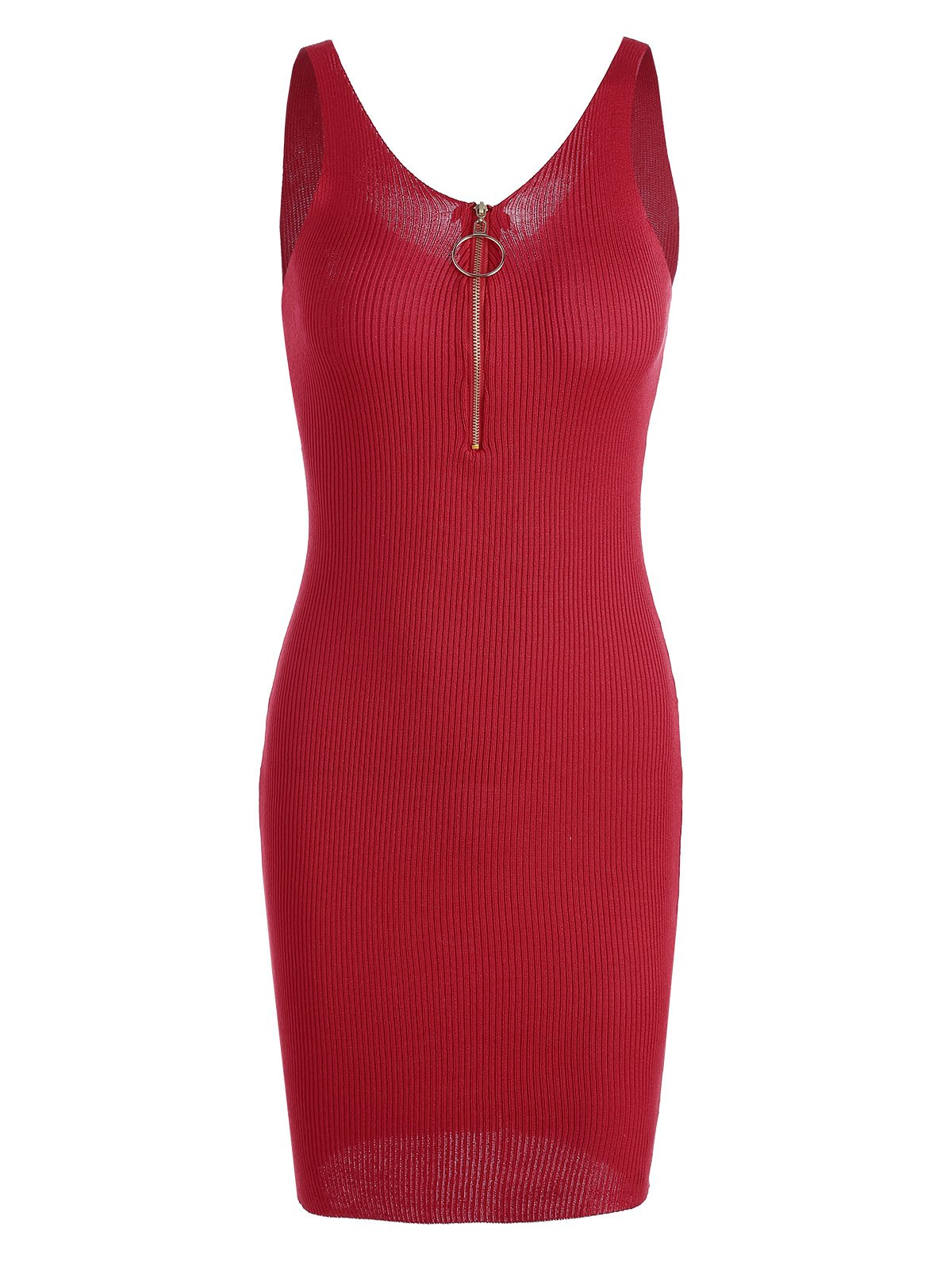 Plunging Neck Ribbed Knitted Bodycon Dress 216974002