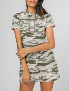 Hooded Camouflage Casual Mini Dress - Multicolor L