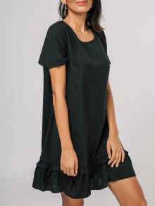 Short Sleeve Flounces Casual Mini Dress - Black M