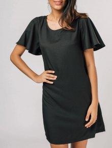 Casual Flouncy Sleeve Shift Dress - Black S