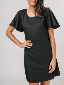 Casual Flouncy Sleeve Shift Dress - Black Xl