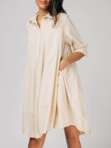Half Buttoned Oversized Shirt Dress - Apricot