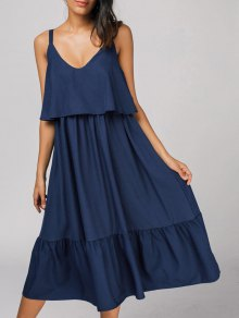 Back Zipper Flounces Casual Midi Dress - Deep Blue M