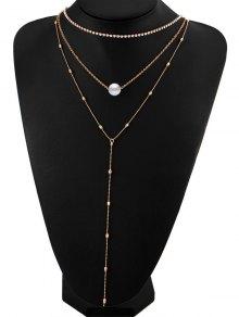 Layered Rhinestone Faux Pearl Necklace