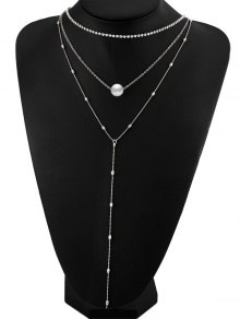 Layered Rhinestone Faux Pearl Necklace - Silver