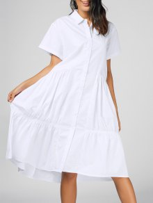Short Sleeve Flounces Shirt Midi Dress - White