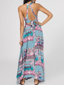 Bowknot Tribal Cut Out Maxi Dress - Multicolor S