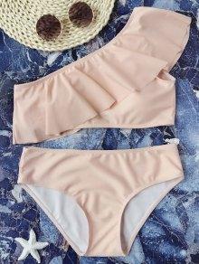 Padded Ruffle One Shoulder Bikini Set - Pink S