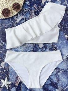 Textured Ruffle One Shoulder Bikini Set - White S