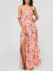 Tiny Floral High Slit Ruffles Maxi Tube Dress - Pink S
