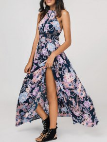 High Slit Floral Bowknot Maxi Dress - Floral S