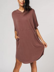 Oversized Pullover Midi Hoodie Dress - Laterite