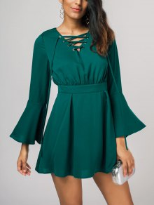 Lace Up Bell Sleeve Skater Dress - Green M