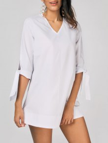 Tied Sleeve V Neck Plain Dress - White S