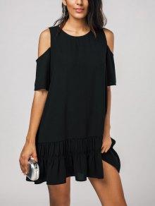 Cold Shoulder Flared Shift Dress - Black L