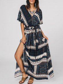 Belted Tribal Print Slit Maxi Dress - Multi M