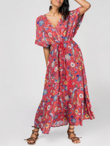 Patterned Plunging Neck Tied Drawstring Maxi Dress - Red S