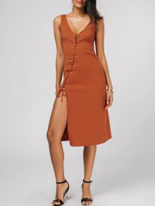 Bias Cut Lace Up Pencil Tank Dress - Jacinth M