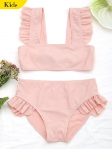 Tie Back Frilled Girls Bikini Set - Orangepink 5t