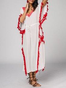 Drawstring Plunging Neck Tassels Maxi Dress