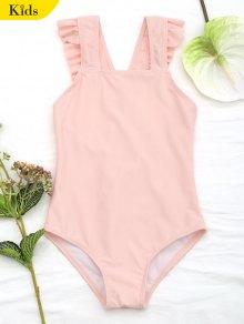 Square Neck Frilled Girls Swimwear - Orangepink 6t