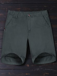 Zip Fly Plain Chino Shorts