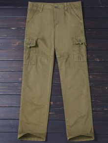 Straight Cargo Pants with Multi Pockets
