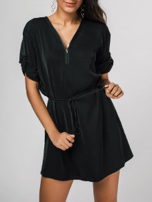 Zipped V Neck Belted Mini Dress