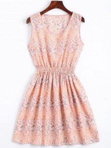Smocked Waist Floral A Line Dress - Pink S