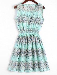 Smocked Waist Floral A Line Dress - Light Blue S