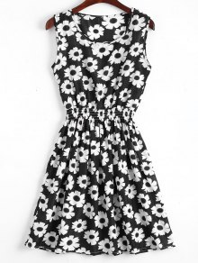 Smocked Waist Floral A Line Dress - White And Black M