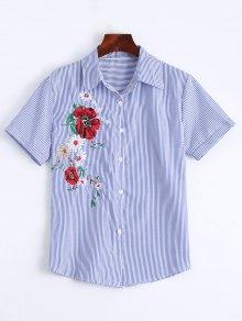 Chemise à Rayures Boutonnée à Boutons Floraux - Rayure