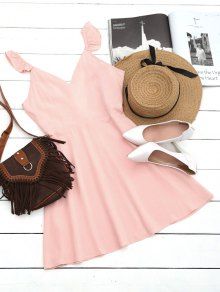 V Shaped Back Ruffled Strap Flare Dress - Pink S