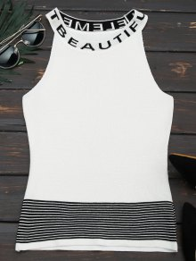 Letter Graphic Striped Knitted Tank Top - White