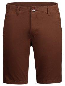 Casual Zip Fly Plain Chino Shorts - Brick-red 30