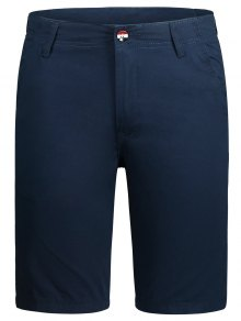 Zip Fly Pocket Plain Chino Shorts - Cadetblue 32