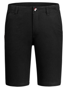Casual Zip Fly Cotton Chino Shorts - Black 34
