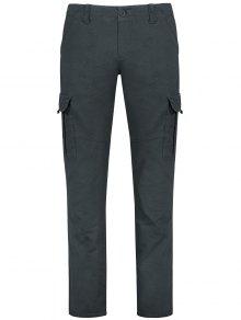 Pantalones Rectos De Carga Con Bolsillos Con Solapa - Gris 30