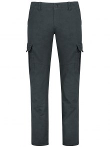 Straight Cargo Pants With Flap Pockets - Gray 36