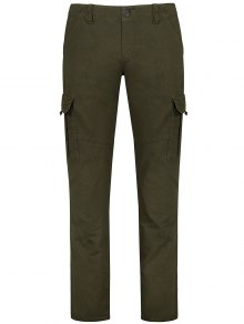 Flap Pockets Zip Fly Straight Cargo Pants - Olive Green 36