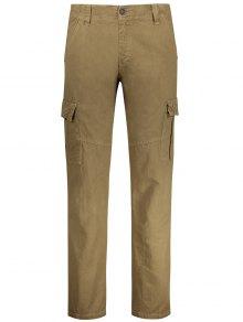 Straight Cargo Pants With Multi Pockets - Khaki 36