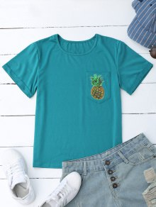 Pineapple Cotton T-Shirt With Pocket - Lake Blue S