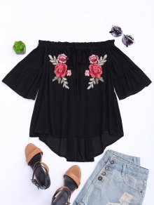 Floral Embroidered Off Shoulder Top - Black S