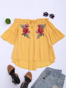 Floral Embroidered Off Shoulder Top - Yellow L