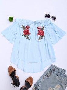 Floral Embroidered Off Shoulder Top - Light Blue L