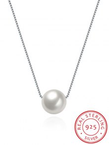 Artificial Pearl Collarbone Silver Necklace - Silver