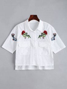 Floral Patched Button Up Pockets Shirt - White