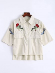 Floral Patched Button Up Pockets Shirt - Apricot